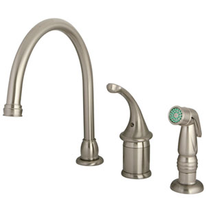 St. George Satin Nickel Single Handle Kitchen Faucet With Non-Metallic Sprayer