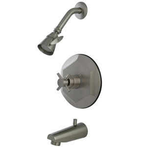 South Beach Satin Nickel Single Cross Handle Tub and Shower Faucet