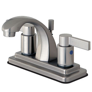 Dubai Satin Nickel 4-in Double Handle Centerset Lavatory Faucet with ABS/Brass Pop-Up