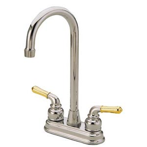Magellan Satin Nickel and Polished Brass Double Handle Faucet