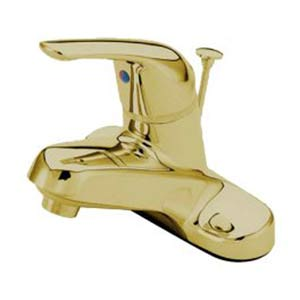 Polished Brass 4-Inch Centerset Lavatory Faucet with Brass Pop-Up