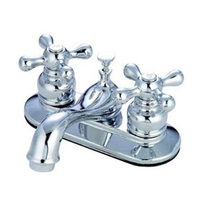 Teapot Chrome Metal Cross Handle 4-Inch Centerset Lavatory Faucet with Pop-Up