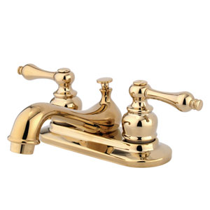 Teapot Polished Brass Metal Lever Handle 4-Inch Centerset Lavatory Faucet with Pop-Up