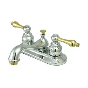 Teapot Chrome and Polished Brass Metal Lever Handle 4-Inch Centerset Lavatory Faucet with Pop-Up