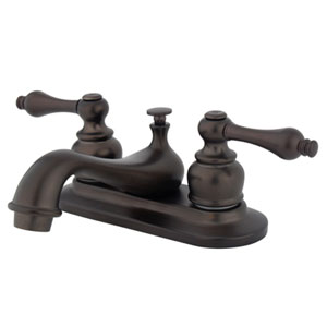 Teapot Oil Rubbed Bronze Metal Lever Handle 4-Inch Centerset Lavatory Faucet with Pop-Up