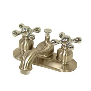 Teapot Satin Nickel and Chrome Metal Cross Handle 4-Inch Centerset Lavatory Faucet with Pop-Up