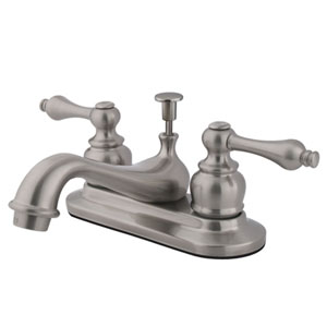 Teapot Satin Nickel Metal Lever Handle 4-Inch Centerset Lavatory Faucet with Pop-Up