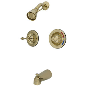Polished Brass Metal Lever Twin Handle Pressure Balanced Tub and Shower Faucet