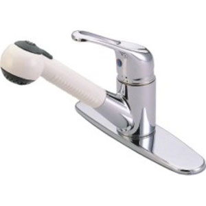 Chrome Single Loop Handle Pull-Out Kitchen Faucet with White Wand