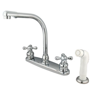 Chrome Cross Lever Handle High Arc Kitchen Faucet with White Sprayer