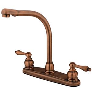 Antique Copper Metal Lever Handle High Arc Kitchen Faucet without Sprayer
