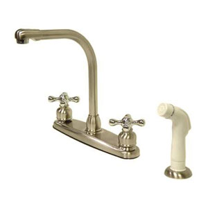Satin Nickel and Satin Nickel Cross Lever Handle High Arc Kitchen Faucet with White Sprayer