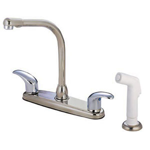 Satin Nickel and Satin Nickel Legacy Lever Handle High Arc Kitchen Faucet with White Sprayer