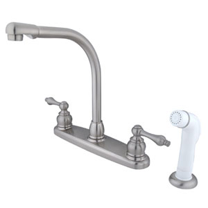 Satin Nickel Metal Lever Handle High Arc Kitchen Faucet with Plastic Sprayer