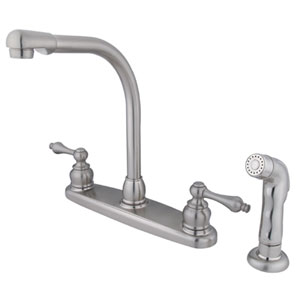 Satin Nickel Metal Lever Handle High Arc Kitchen Faucet with Matching Sprayer