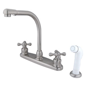 Satin Nickel Cross Lever Handle High Arc Kitchen Faucet with White Sprayer