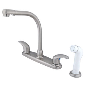 Satin Nickel Legacy Lever Handle High Arc Kitchen Faucet with White Sprayer