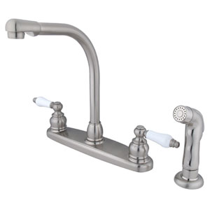 Satin Nickel Porcelain Lever Handle High Arc Kitchen Faucet with Matching Sprayer