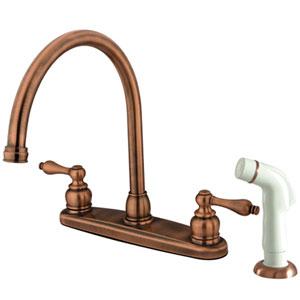 Antique Copper Porcelain Lever Handle Goose Neck Kitchen Faucet with Plastic Sprayer