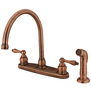 Antique Copper Victorian Lever Handle Goose Neck Kitchen Faucet with Matching Plastic Sprayer
