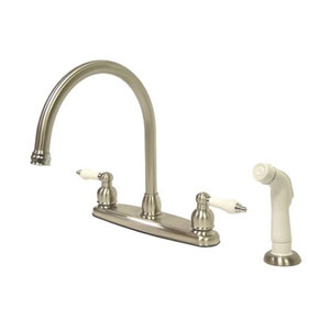 Satin Nickel and Satin Nickel Porcelain Lever Handle Goose Neck Kitchen Faucet with Plastic Sprayer