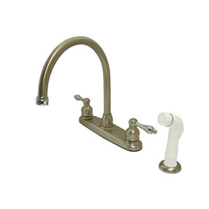 Satin Nickel and Satin Nickel Victorian Lever Handle Goose Neck Kitchen Faucet with Plastic Sprayer