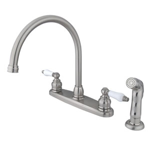 Satin Nickel Lever Handle Goose Neck Kitchen Faucet with Matching Plastic Sprayer