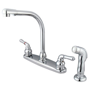 Chrome Magellan Lever Two Handle 8-Inch High Arch Kitchen Faucet with Matching Plastic Sprayer