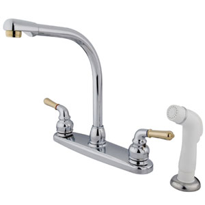 Chrome and Polished Brass Magellan Lever Two Handle 8-Inch High Arch Kitchen Faucet with White Plastic Sprayer