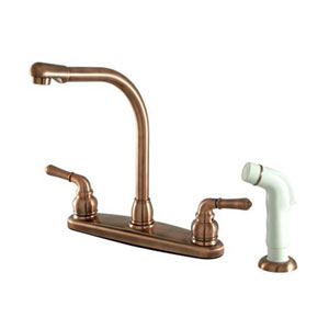 Antique Copper Magellan Lever Two Handle 8-Inch High Arch Kitchen Faucet with White Plastic Sprayer
