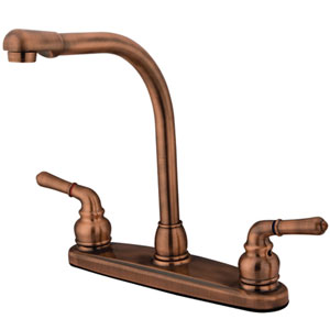 Antique Copper Magellan Lever Two Handle 8-Inch High Arch Kitchen Faucet without Sprayer