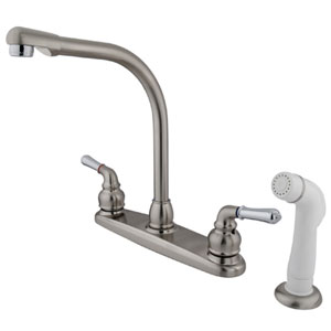 Satin Nickel and Satin Nickel Magellan Lever Two Handle 8-Inch High Arch Kitchen Faucet with White Plastic Sprayer
