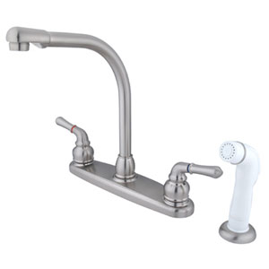 Satin Nickel Magellan Lever Two Handle 8-Inch High Arch Kitchen Faucet with White Plastic Sprayer