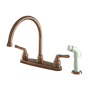 Antique Copper Magellan Lever Twin Handle Kitchen Faucet With White Plastic  Sprayer