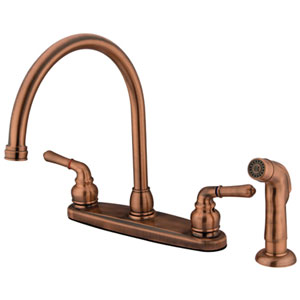 Antique Copper Magellan Lever Twin Handle Kitchen Faucet with Matching Plastic Sprayer