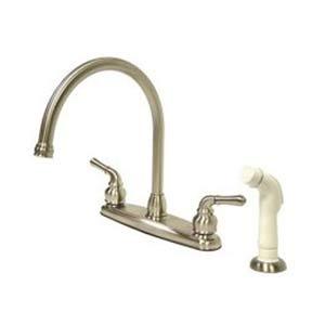 Magellan Satin Nickel 8-Inch Kitchen Faucet with Plastic Sprayer