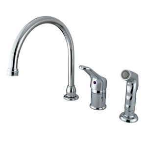 Chrome Wyndham Loop Single Handle Kitchen Faucet with Matching Plastic Sprayer