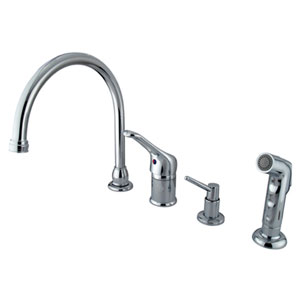 Chrome Wyndham Loop Single Handle Kitchen Faucet with Matching Plastic Sprayer and Soap Dispenser