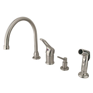 Satin Nickel Wyndham Loop Single Handle Kitchen Faucet with Matching Plastic Sprayer and Soap Dispenser