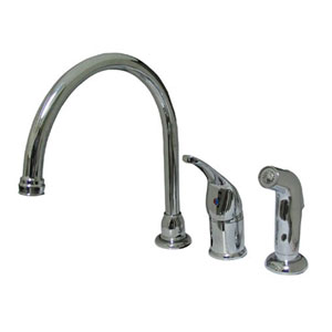 Chrome Single Lever Kitchen Faucet with Matching Sprayer