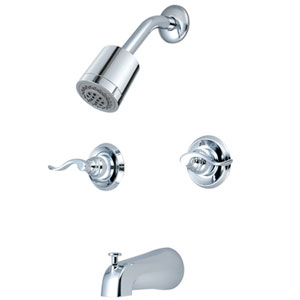 Paris Polished Chrome Double Handle Tub and Shower Faucet