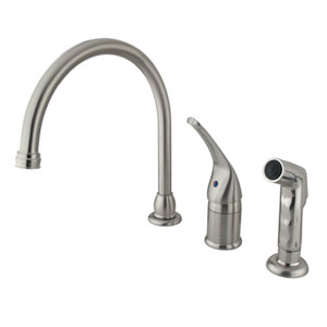 Satin Nickel Single Lever Kitchen Faucet with Matching Sprayer