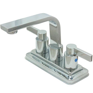 Dubai Polished Chrome 4-in Double Handle Centerset Lavatory Faucet with Brass Pop-Up