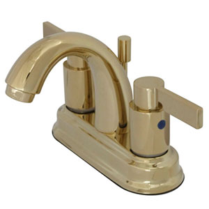 Dubai Polished Brass 4-in Double Handle Centerset Lavatory Faucet with Brass Pop-Up