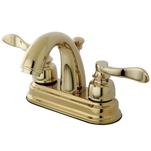 Paris Polished Brass 4-in Centerset Double Handle Lavatory Faucet with Retail Pop-Up