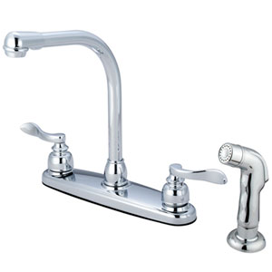 Nu-Day Polished Chrome Double Handle 8-Inch Centerset High-Arch Kitchen Faucet with Matching Sprayer