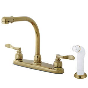 Paris Polished Brass 8-in Double Handle High Arch Centerset Kitchen Faucet with White Sprayer