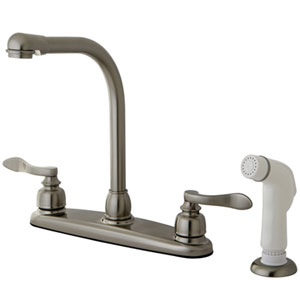 Paris Satin Nickel 8-in Double Handle High Arch Centerset Kitchen Faucet with White Sprayer