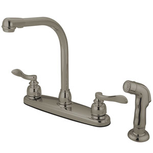 Paris Satin Nickel 8-in Double Handle High Arch Centerset Kitchen Faucet with Matching Sprayer