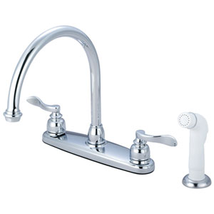 Nu-Day Polished Chrome Double Handle 8-Inch Centerset Kitchen Faucet with White Sprayer